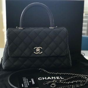 Chanel Caviar Mini Coco Lizard Handle Flap Bag